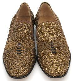 """Donald Pliner """"Pont"""" Bronze Wasp Beaded Carpet Loafer"""