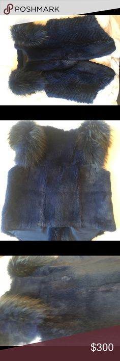 Navy Blue Real Fox and Raccoon Vest 100% real fur. New w/o tag. Fits small like a L (8-12) Jackets & Coats Vests