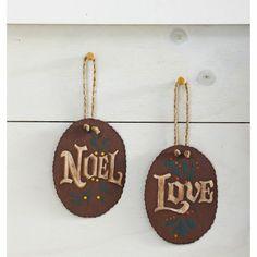 Vintage wood Christmas Tree Decorations with Noel & Love Great idea ...