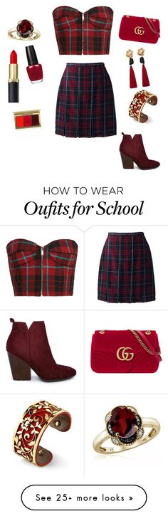 """""""Untitled #65"""" by unicorn546 on Polyvore featuring Lands' End, Gucci, MANGO, Belk Silverworks, Jewelonfire and MAC Cosmetics"""