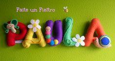FAITE UN FIELTRO  Nombre Paula en fieltro. Pide el tuyo en http://faiteunfieltro.blogspot.com.es/