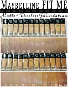 Maybelline® FIT ME!® Matte + Poreless Foundation & Powder Swatches + Review | Blushing Noir