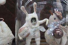 Fil À Sophie antique inspired spun cotton rabbit baby ornament