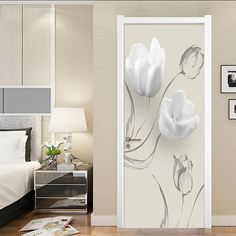 Adhesive Decal Home Decor DIY Abstract Flower Line Door Sticker Self Paper for Living Room PVC Waterproof Print Sticker Art