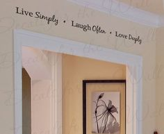 Live Simply Laugh Often Love Deeply Family Home Love Living Room Wall Decal Vinyl Lettering Decoration Quote Sticker Letters Decor H13 on Etsy, $17.97