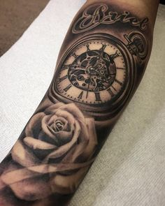 Clock, rose and script piece by Kevin Chen (@kchen.chronicink) done at Chronic Ink Tattoo - Toronto, Canada
