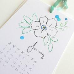 Illustrations for a hand-painted vintage floral calendar for 2012
