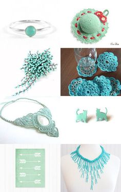 Mint and turquoise gifts by Angeline Rose on Etsy--Pinned with TreasuryPin.com