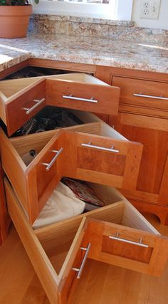 corner drawers...for that awkward spot on the kitchen