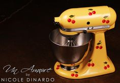 Cherry design on yellow, custom painted Kitchenaid mixer from Un Amore by Nicole Dinardo