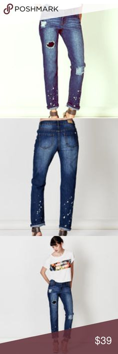 Adorable patchwork jeans, Adam Levine sz 9-10 NWT sold out everywhere! New w/tags sz 9/10 price is firm. No trades.  This relaxed fit, straight leg jean from the Adam Levine Women's Collection features stretch cotton denim for a comfortable, close-cut Tomboy fit.  Medium stone wash, sandblasted & whiskered w/rip & repair patches,  a light paint splatter at the leg bottom gives this jean a personalized, lived-in look Stretch denim Relaxed fit 5-pocket design Rip and repair/paint splatter…