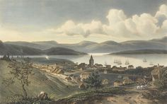 Watercolour of Hobart Town by Louise Auguste de Sainson, which was reproduced as a lithograph.