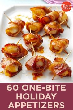 60 One-Bite Appetizers for the Holidays Holiday Snacks, Christmas Party Food, Christmas Appetizers, Christmas Cooking, Holiday Recipes, Christmas Sweets, Christmas Meal Ideas, Christmas Entrees, Christmas Nibbles