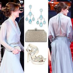 26 October 2015  The Duchess of Cambridge's Spectre premiere ensemble  Jenny Packham pale blue full-length gown with shimmering rhinestone belt and row of crystal buttons at the wrist.  Jenny Packham £325 Casa silver box clutch with a crystal encrusted clasp.  Jimmy Choo £389 Vamp silver platform sandals.  Robinson Pelham £14,300 Pagoda white gold earrings set with blue topaz and diamonds.