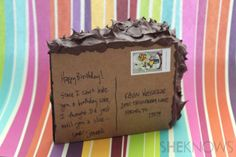 """Tutorial for a """"cake postcard"""" made from spray painted sponge and caulk with postcard glued to one side."""