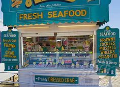 Seafood stall, Scarborough, North Yorkshire, England