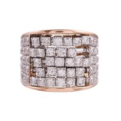 Gemayel 3.00 Carats Diamonds Two Color Gold Abacus Ring  1