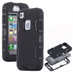 iPhone 4 Case, iPhone 4S Case ULAK [Robot Guard] Hybrid Rugged Triple Layer Combo Case with Hard Plastic Inner Shell and Rugged Soft Silicone Outer Skin for Apple iPhone 4S & iPhone 4