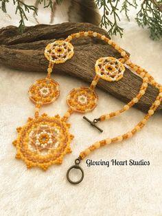 Honeybee Mandala Necklace  beaded golden by GlowingHeartStudios