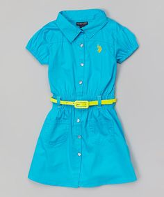Take+a+look+at+the+Surf+Blue+Belted+Dress+-+Girls+on+#zulily+today!