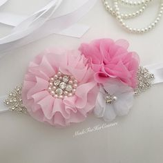 Diy Baby Headbands, Lace Headbands, Diy Headband, Baby Shower Sash, Baby Shower Princess, Wedding Sash, Bridal Sash, Fabric Flower Brooch, Fabric Flowers