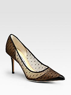Jimmy Choo - Begonia Polka-Dot Mesh Pumps