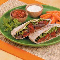 Great   Fast Fajita Pita Recipe | Taste of Home Recipes   photo #Pita #Recipes Pita Recipes, Wrap Recipes, Home Recipes, Beef Recipes, Cooking Recipes, Healthy Recipes, Hot Pepper Jelly, Fajita Seasoning, Smoked Turkey