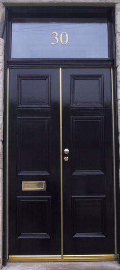 Black double front door + house number http://thayermanor.wordpress.com/