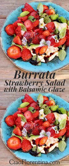 Burrata Strawberry Balsamic Salad with Homemade Honey Balsamic Glaze  | CiaoFlorentina.com @CiaoFlorentina
