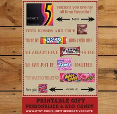Valentine or Anniversary Candy Poster for your sweetheart. Homemade Gift Idea that is easy to personalize, print and add candy! Instant Download with Personalization Area - for a name and initials such as MD. Great Valentine Card or Anniversary card for your husband or boyfriend! #boyfriend-gift-idea #valentine-gift-ideas #valentine-ideas