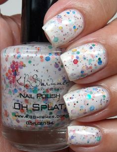 Oh Splat White Glitter Nail Polish with Rainbow Glitters by KBSHIMMER