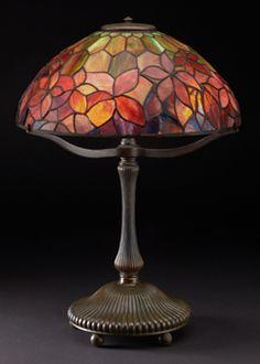 Tiffany Studios, Woodbine Table Lamp, ca. 1910, leaded glass and bronze | Kalamazoo Institute of Arts Special Exhibit.