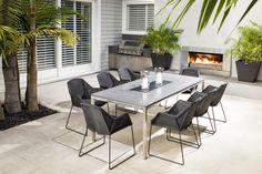 Escea EF5000 White Coals Outdoor Furniture Sets, Contemporary Fireplace, Outdoor Rooms, Outdoor Decor, Fireplace Design, Outdoor Furniture, Outdoor Design, Contemporary House, Innovation Design