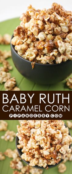 Baby Ruth Caramel Corn | Spruce up your popcorn with one of America's favorite candy bars! Best winter snack EVER! Popcorn Snacks, Flavored Popcorn, Popcorn Recipes, Snack Recipes, Cooking Recipes, Gourmet Popcorn, Popcorn Balls, Pop Popcorn, Perfect Popcorn