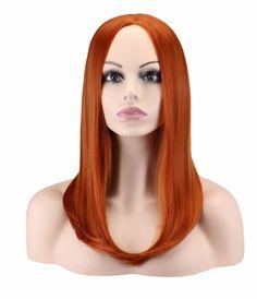 QQXCAIW Women Medium Long Straight Cosplay Dark Orange 50 Cm Synthetic Hair Wigs