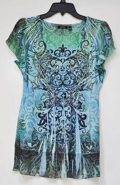 c7dc583360ba Apt.9 Women s Blouse Studded Green Blue Black Short Sleeve M NWT  Apt9   Blouse  Casual