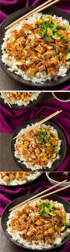 Teriyaki Grilled Chicken and Veggie Rice Bowls - chicken, healthy, recipes, rice, teriyaki, vegan