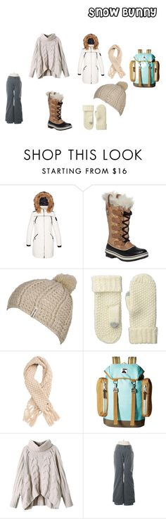 """""""Snow Bunny"""" by madmaddiesmith ❤ liked on Polyvore featuring Point Zero, SOREL, Billabong, Echo Design, Poler and Roxy"""
