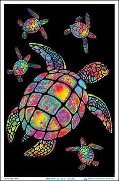 Painted Sea Turtles Blacklight Poster - Flocked - x Sea Turtle Art, Turtle Love, Kratz Kunst, Black Light Posters, Scratch Art, Turtle Painting, Fish Art, Psychedelic Art, Whimsical Art
