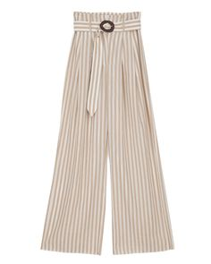 NEVADA - Wide leg pants - Beige/Creme Striped Linen, Wide Leg Pants, Trousers, Pajama Pants, Beige, Model, How To Wear, Collection, Nevada