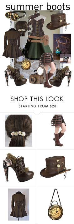 """""""Steampunk Summer"""" by breedeevee ❤ liked on Polyvore featuring HADES and Overland Sheepskin Co."""