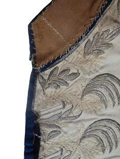 18th Century Waistcoat Pieces:  Silver Thread Hand Embroidery from Court Coat Foliate Pattern Pailette 1770 1780 | www.SarahElizabethGallery.com