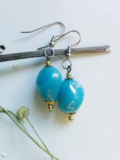 Clear Water Earrings - Tide Shaped - Aqua, sky blue, robin's egg, gold, small, simple hypoallergenic earrings