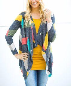 Olivia & Jane Charcoal & Yellow Stripe Drape Open Cardigan - Plus Too | zulily