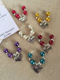 Wedding Wine Glass Charms, can be used as wedding favours for your bridesmaids.