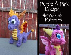 Purple & Pink Dragon Amigurumi Pattern $9