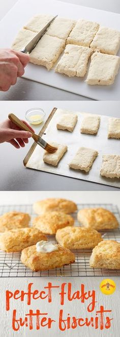 For your next get-together, try making our Perfect Flaky Buttermilk Biscuits instead of traditional dinner rolls. We've done the research to make sure our recipe is equal parts flaky and buttery for the ultimate biscuit experience. Flaky Biscuits, Buttermilk Biscuits, Biscuit Bread, Biscuit Recipe, Scones, Brunch, Good Food, Yummy Food, Party Decoration