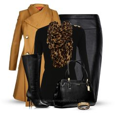 Camel coat, leopard scarf, black sweater and black leather handbag are perfect for making a fashion statement.
