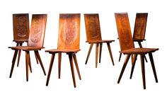 Jean Touret Set of Six Oak Dining Chairs for Marolles, France, 1950s on DECASO.com
