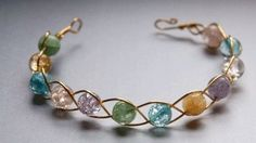 Wire bracelet with beads; very simple.